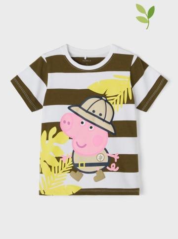 "Name it Shirt ""PeppaPig"" kaki/wit"