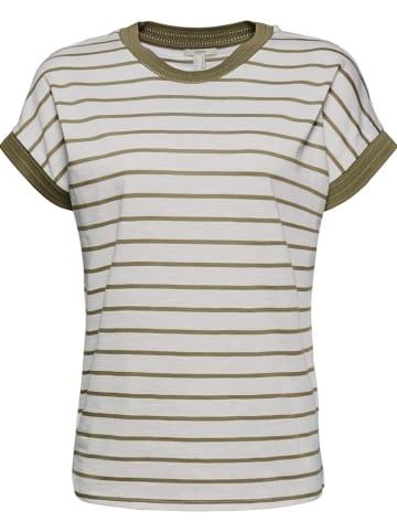 ESPRIT Koszulka w kolorze kremowo-oliwkowym