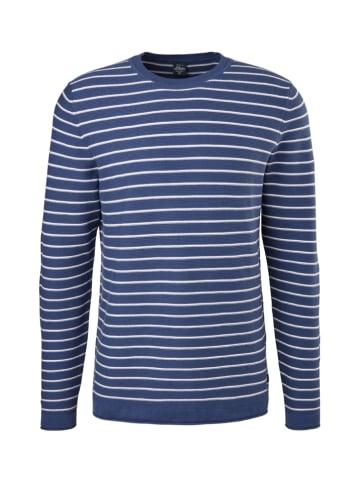 S.OLIVER RED LABEL Pullover in Blau/ Weiß