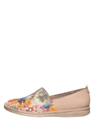 """Josef Seibel Skórzane slippersy """"Sofie 33"""" w kolorze beżowym ze wzorem"""