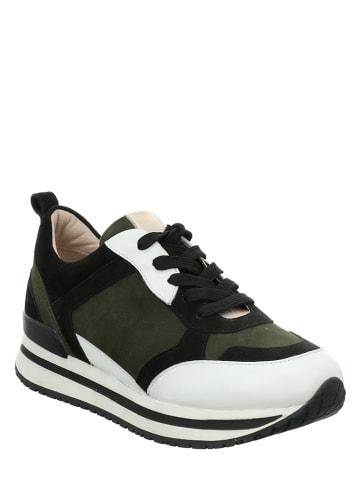 """Gerry Weber Leren sneakers """"Calabria 01"""" groen/zwart/wit"""