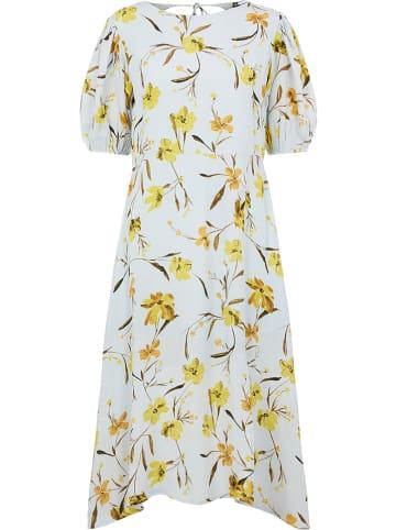 """Pieces Sukienka """"Pclillian"""" w kolorze błękitno-żółtym"""