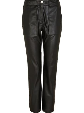Comma Kunstleren broek - regular fit - zwart