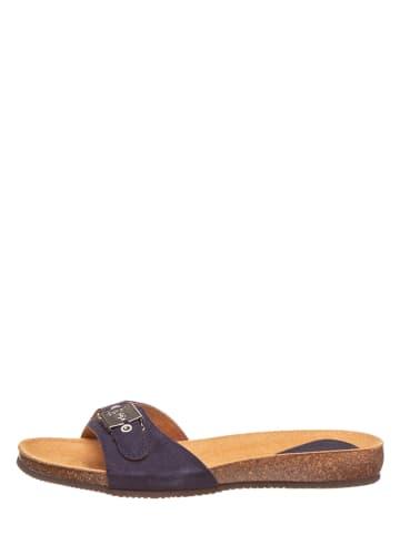 Scholl Leren slippers donkerblauw