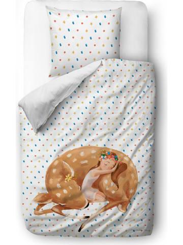 """Mr Little Fox Satijnen beddengoedset """"Sleeping fairy"""" wit/meerkleurig"""