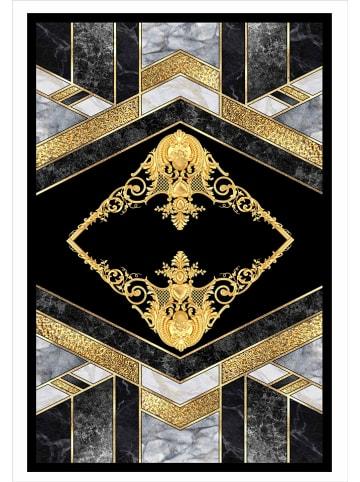 """Nazar Laagpolig tapijt """"Stampa"""" zwart/grijs/goudkleurig"""
