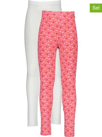 Lamino 2-delige set: leggings wit/roze