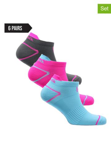 Norfolk 6er-Set: Socken in Hellblau/ Pink/ Schwarz