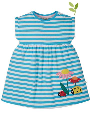 """Frugi Sukienka """"Ladybird"""" w kolorze turkusowo-białym"""
