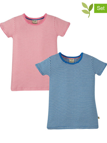 """Frugi 2-delige set: shirts """"Pointelle"""" lichtroze/blauw"""