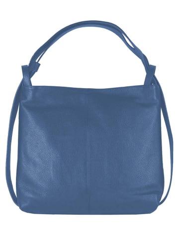 "Zwillingsherz Leren schoudertas ""Classy"" blauw - (B)37 x (H)38 x (D)9 cm"
