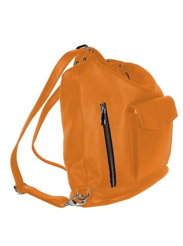 """Zwillingsherz Skórzana torebka """"Zipper"""" w kolorze pomarańczowym - 25 x 45 cm"""