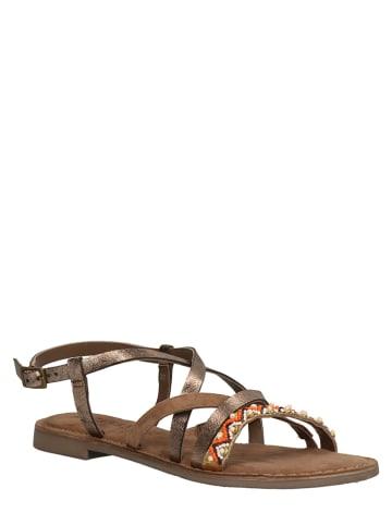 Lazamani Leren sandalen koperkleurig/meerkleurig