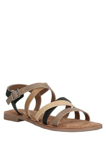 Lazamani Leren sandalen beige
