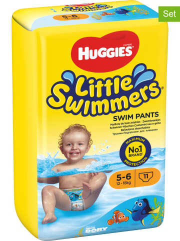 """HUGGIES-DryNites 2er-Set: Schwimmwindeln """"Little Swimmers"""" Gr. 5/6, 12-18 kg (22 Stück)"""