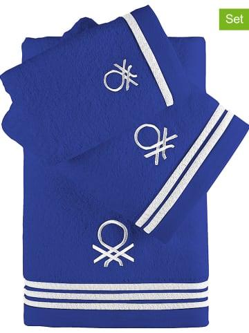 Benetton 3-częściowy zestaw ręczników w kolorze niebieskim