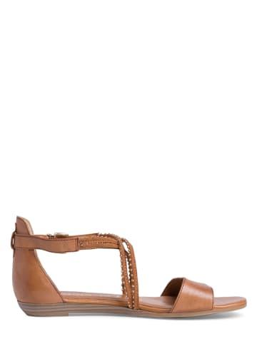 Tamaris Skórzane sandały w kolorze jasnobrązowym