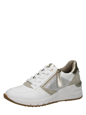 Tamaris Skórzane sneakersy w kolorze białym na koturnie