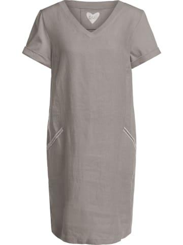 Oui Lniana sukienka w kolorze khaki