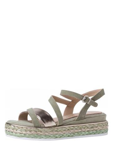 Marco Tozzi Skórzane sandały w kolorze zielonym