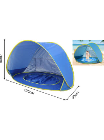 Profigarden Pop-up-strandscherm blauw - (B)120 x (H)70 x (D)80 cm