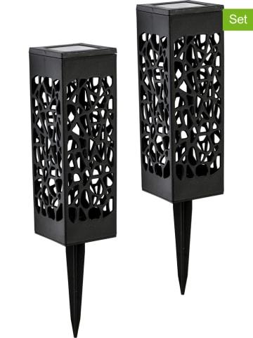 Profigarden 2-delige set: ledsolartuinstekers zwart - (H)28 cm