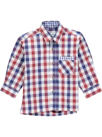 Isar-Trachten Trachtenhemd in Dunkelblau/ Rot/ Weiß