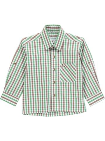 Isar-Trachten Trachtenhemd in Brün/ Braun/ Weiß