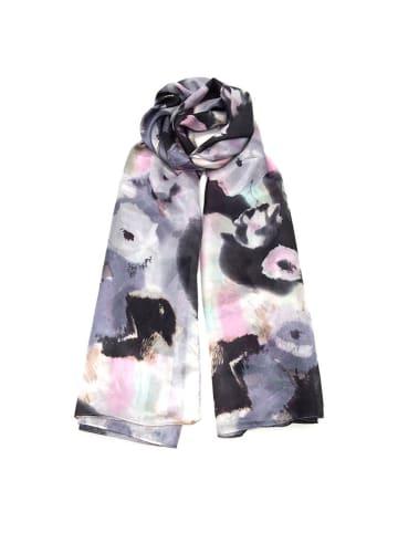 Made in Silk Jedwabny szal w kolorze szaro-czarnym ze wzorem - (D)180 x (S)90 cm