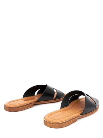 Twin Island Leren slippers zwart