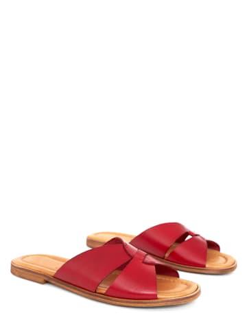 Twin Island Leren slippers rood