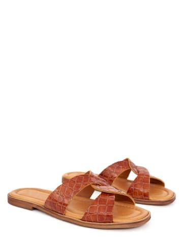 Twin Island Leren slippers lichtbruin