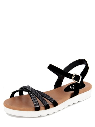 FS Firenze Studio Skórzane sandały w kolorze czarno-srebrnym