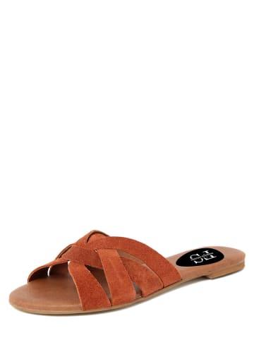 FS Firenze Studio Skórzane klapki w kolorze brązowym