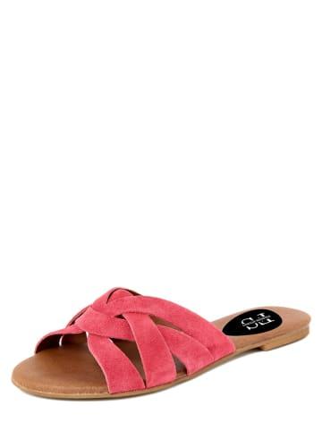FS Firenze Studio Skórzane klapki w kolorze różowym