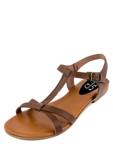 FS Firenze Studio Skórzane sandały w kolorze brązowym