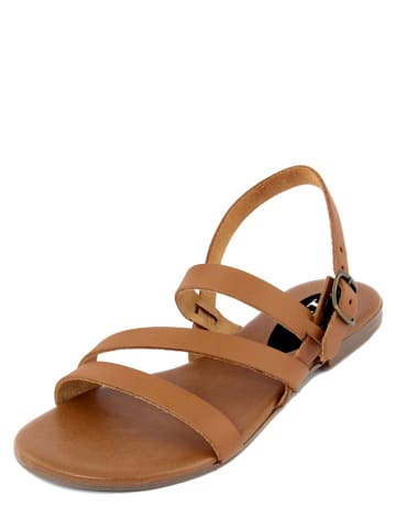 FS Firenze Studio Skórzane sandały w kolorze karmelowym