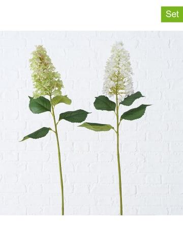 "Boltze 2-delige set: kunstplanten ""Flieder"" groen/wit - (L)98 cm"