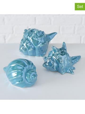 "Boltze 3-delige set: decoratieve objecten ""Zyrus"" lichtblauw - (B)15 x (H)8 x (D)8 cm"