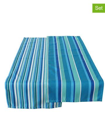 """Boltze 2-delige set: tafellopers """"Paul"""" blauw - (L)140 x (B)40 cm"""