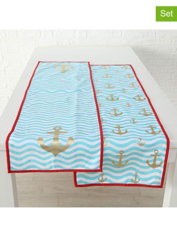"""Boltze 2-delige set: tafellopers """"Wavy"""" turquoise - (L)140 x (B)40 cm"""