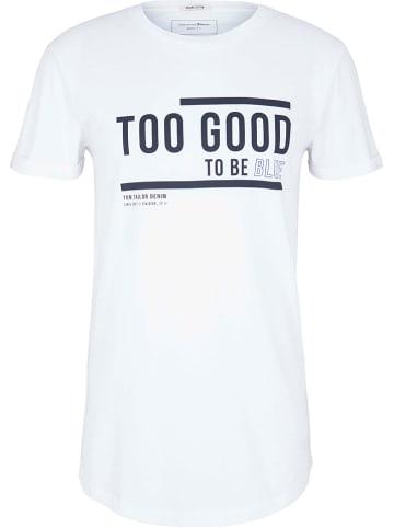TOM TAILOR Denim Koszulka w kolorze białym