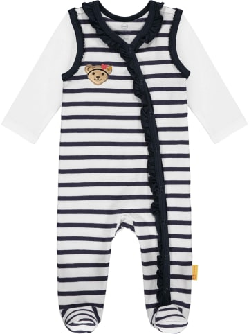 Steiff 2-delige outfit donkerblauw/wit