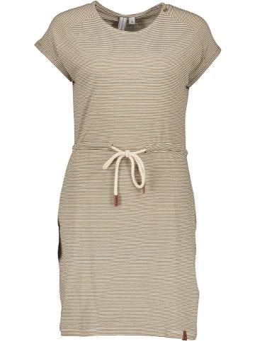 """Khujo Sukienka """"Annemarie"""" w kolorze musztardowo-białym"""