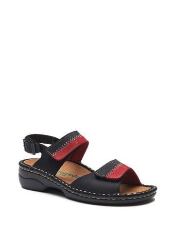 Comfortfusse Skórzane sandały w kolorze czarno-czerwonym