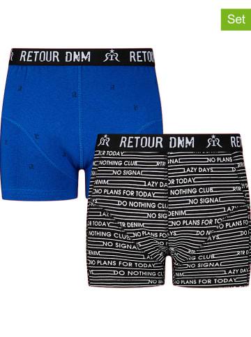 "Retour 2er-Set: Boxershorts ""Remy"" in Blau/ Schwarz"