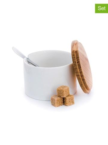 DUKA 2-delige suikerset wit/naturel - (H)7 cm