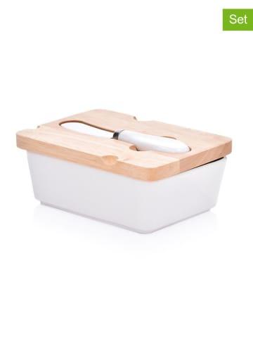 DUKA 2-częściowy zestaw w kolorze biało-jasnobrązowym - maselniczka, nóż