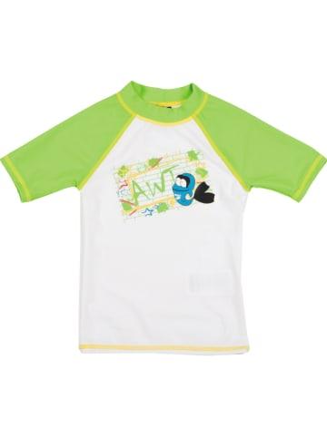 """Arena Koszulka kąpielowa """"Water Tribe"""" w kolorze biało-zielonym"""