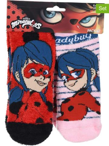 """Miraculous Skarpety (2 pary) """"Ladybug"""" w kolorze czerwono-jasnoróżowym"""